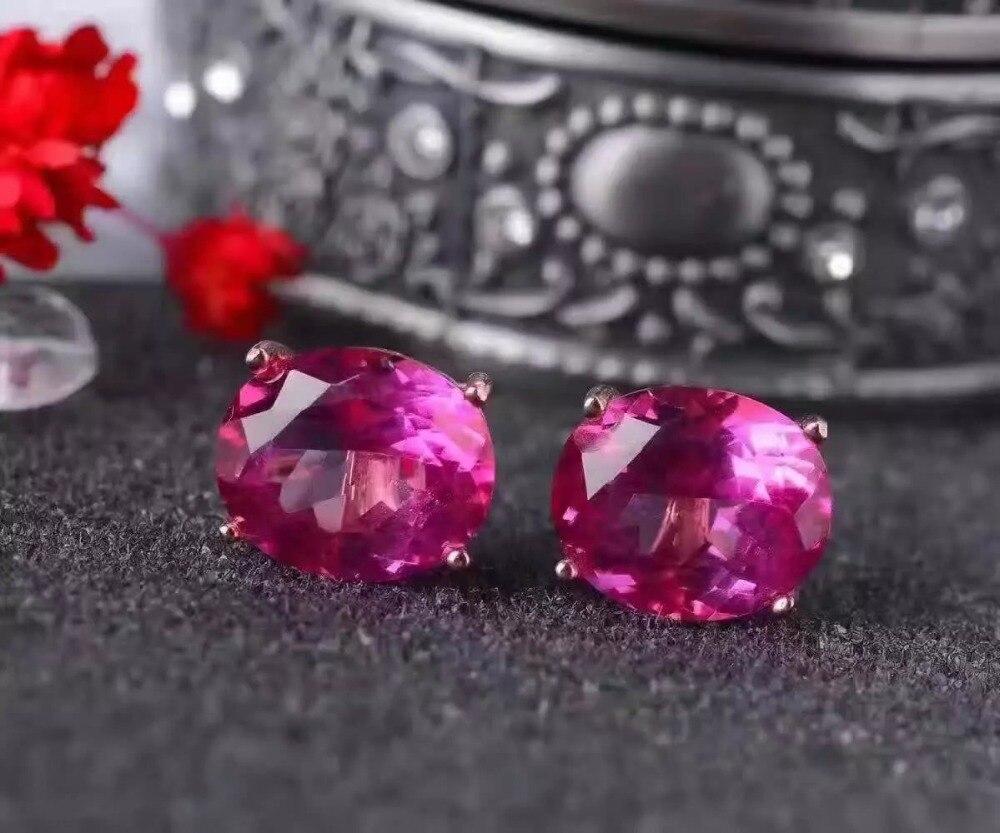 купить natural pink topaz stone stud earrings 925 silver Natural Pink gemstone earring women fashion Brilliant Earrings for anniversary онлайн