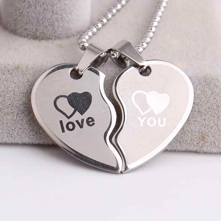 free shipping Lovers wave Double hearts LOVE YOU 316L Stainless Steel pendant necklaces for men women wholesale