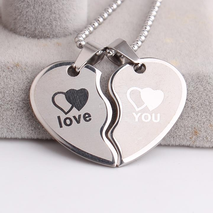 Lovers wave Double hearts LOVE YOU 316L Stainless Steel pendant necklaces for men women wholesale Free shipping Кольцо