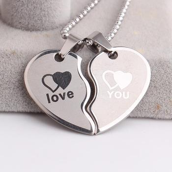Amoureux vague Double coeurs vous aime 316L acier inoxydable pendentif colliers pour hommes femmes en gros