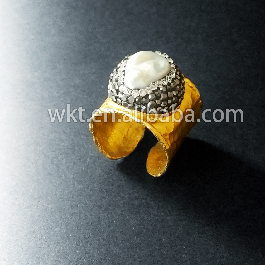 Exclusive! Natural freshwater mother of pearl rings,  matted gold - Fashion Jewelry - Photo 2