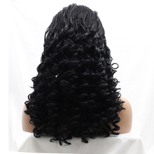 African American Loose Wave Synthetic Hair Micro Braided Lace Front Wigs Glueless For Black Women Heat Resistant Fiber