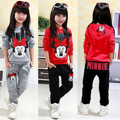 Minnie Baby Girls Kids Autumn Sweatshirt Tops AND Pants 2pcs Outfits Tracksuit girls baby long sleeve tops t shirt bib cartoon minnie 2pcs outfits set 1 5y
