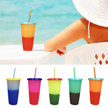 700ML Plastic Temperature Change Color Cups 5pcs Colorful Cold Water Changing Coffee Cup Mug Bottles With Straws Set