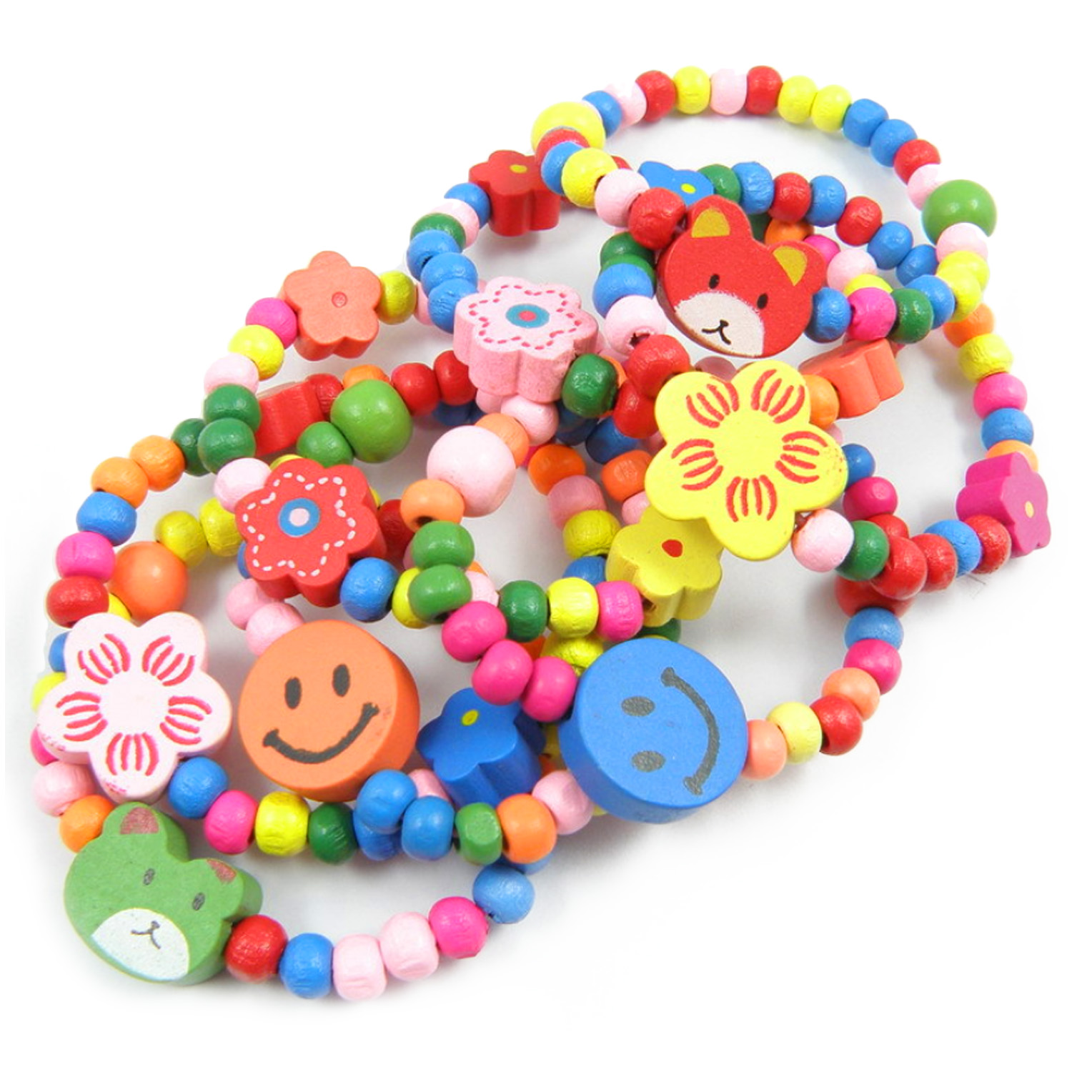 Kids DIY Crafts Toy 12Pcs Assorted Style Cute Candy Color Wooden Beading Bracelets DIY Toys For Kids Children Favor Holiday Gift