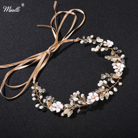 Gold And Sliver Plated Leaf Flower Crystal Pearl Chain On Head For Wedding Hair Accessories Tiara