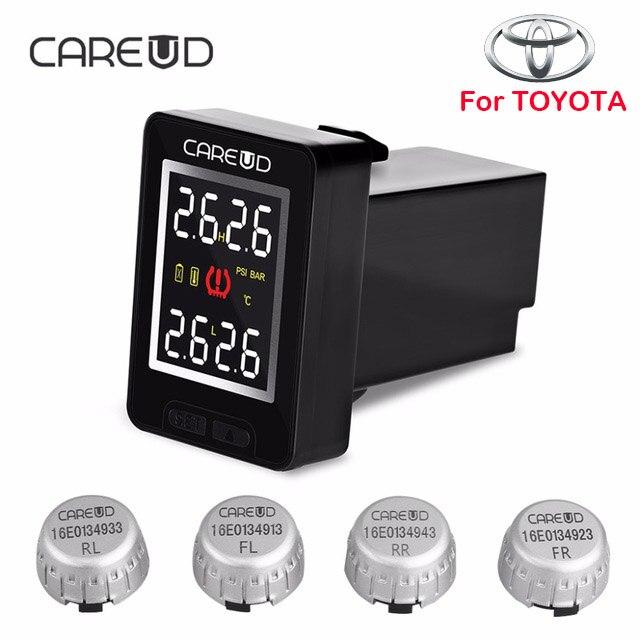 Sistema di monitoraggio della pressione dei pneumatici TPMS wireless CAREUD U912 con 4 sensori esterni Display LCD con monitor incorporato per Toyota