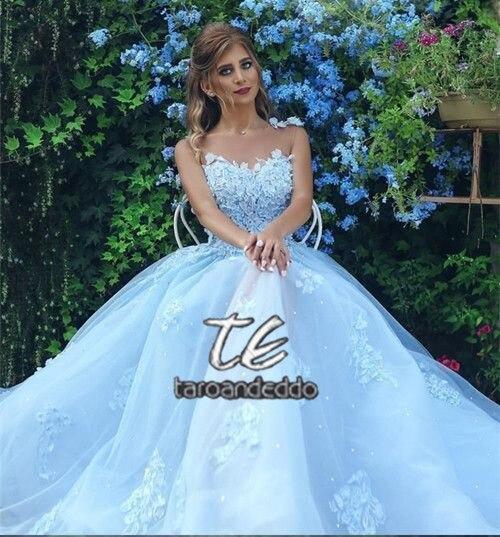 Image 4 - Light Blue Wedding Dress Boho Lace Applique Sleeveless A Line Vestidos de Novia 2019 Bride Dress Vestido de Festa Longo-in Wedding Dresses from Weddings & Events