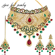 2017 Luxury Bollywood Jewelry Sets Zircon Red&Green Crystal Cloud Choker Necklace Earrings Hairwear Kundan Jewelry for Women
