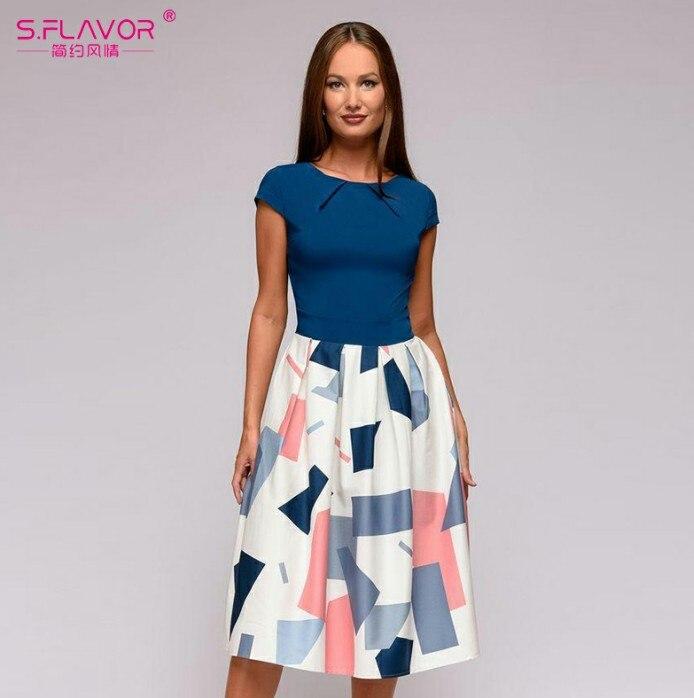 S.FLAVOR Vintage women wave point dress Hot Sale short sleeve patchwork A-line short dress Casual women Autumn Winter vestidos