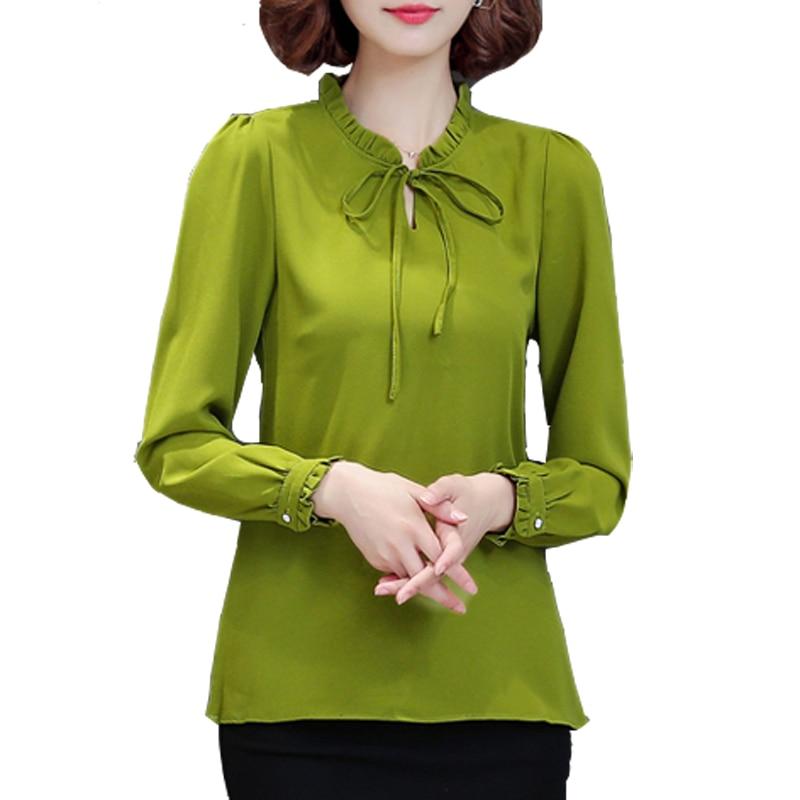 2017 Autumn Women Chiffon Blouse Long Sleeve Plus Size 4XL Bow Tie Ruffle Shirt Casual Ladies