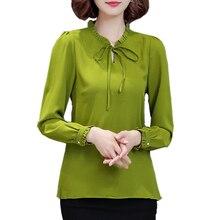 2017 Autumn Women Chiffon Blouse Long Sleeve Plus Size 4XL Bow Tie Ruffle Shirt Casual Ladies Office Shirts Work Wear Top Femme