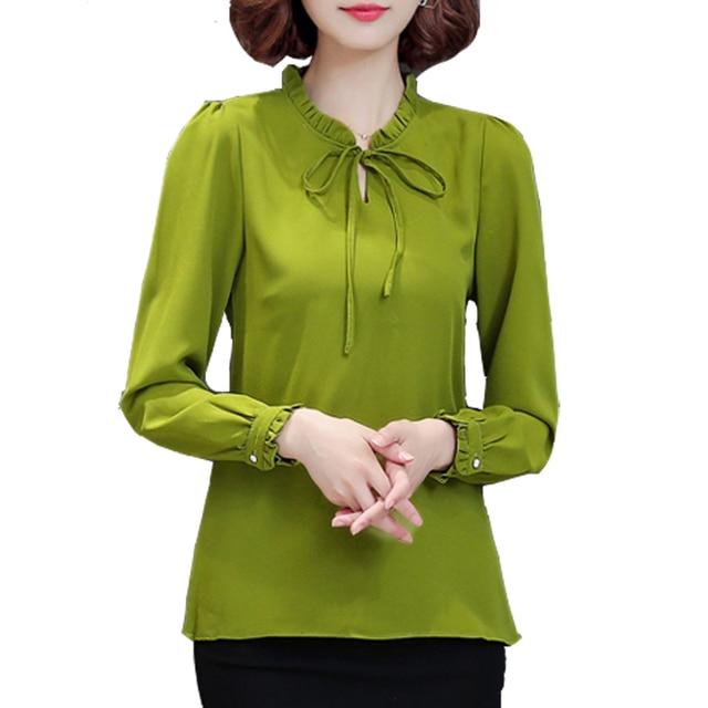 1e2de71d2 2018 Spring Women Chiffon Blouse Long Sleeve Plus Size 4XL Bow Tie Ruffle  Shirt Casual Ladies Office Shirts Work Wear Top Femme