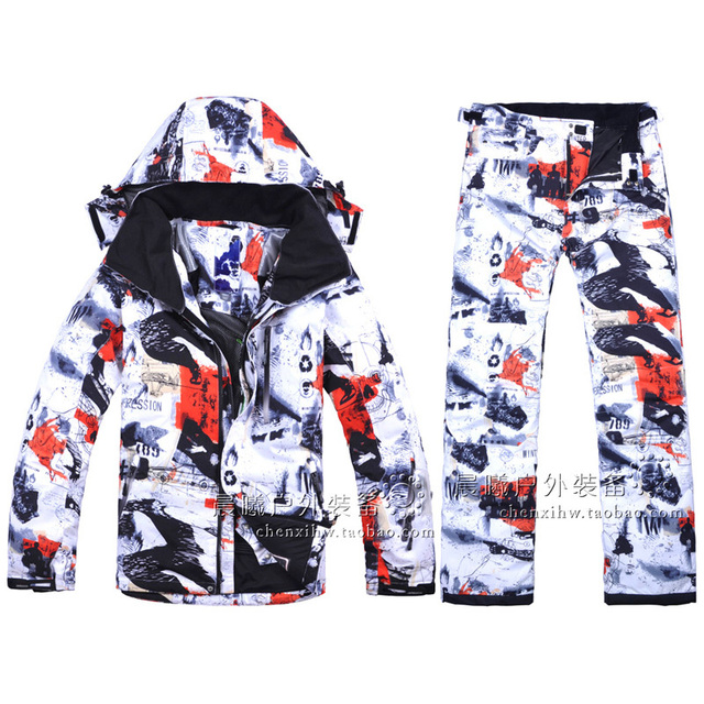 Free Shipping  New 2018 Male Ski Suits Jacket+Pants Men's Water-proof Breathable Thermal Cotton-Padded Snowboard Ski Suits