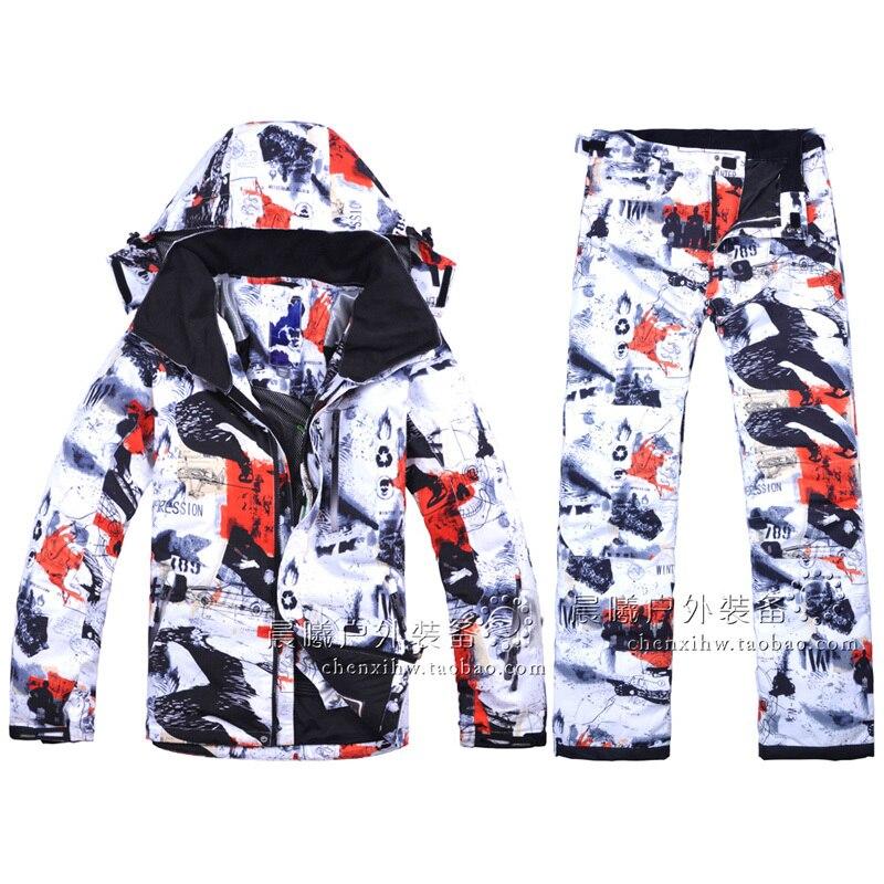Livraison Gratuite Nouveau 2018 Mâle Ski Costumes Veste + Pantalon Hommes de L'eau-preuve Respirant Thermique Coton Rembourré snowboard Ski Costumes