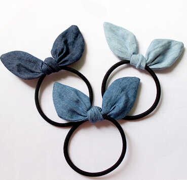 New arrival Women fashion denim ears hair bands girl's lovely Hair accessories scrunchy rubber rope headwear