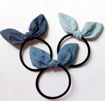 New Arrival Women Fashion Denim Ears Hair Bands Girl's Lovely Hair Accessories Scrunchy Rubber Rope Headwear