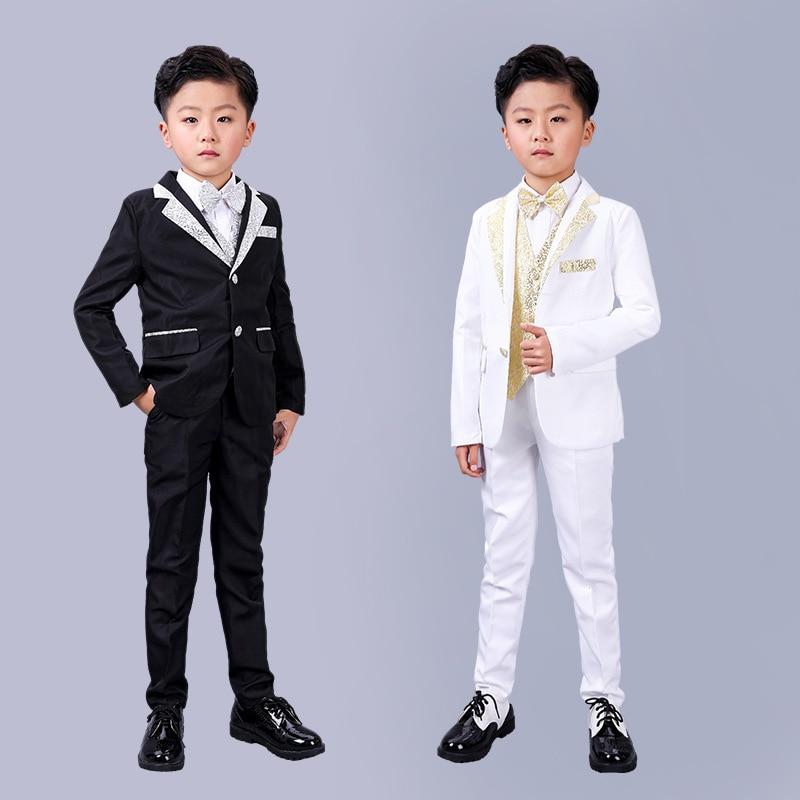 5PCS Flower Boys Formal Dress Suit Set Children Blazer Vest Shirts Pants bowtie Outfit Boy Wedding