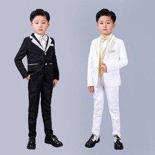 5PCS Flower Boys Formal Dress Suit Set Children Blazer Vest Shirts Pants bowtie Outfit Boy Wedding Piano Performance Clothing
