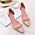2016 summer two-Piece Bow Pointed Toe Women Pumps Serpentine artificial leather pink high heels wedding shoes