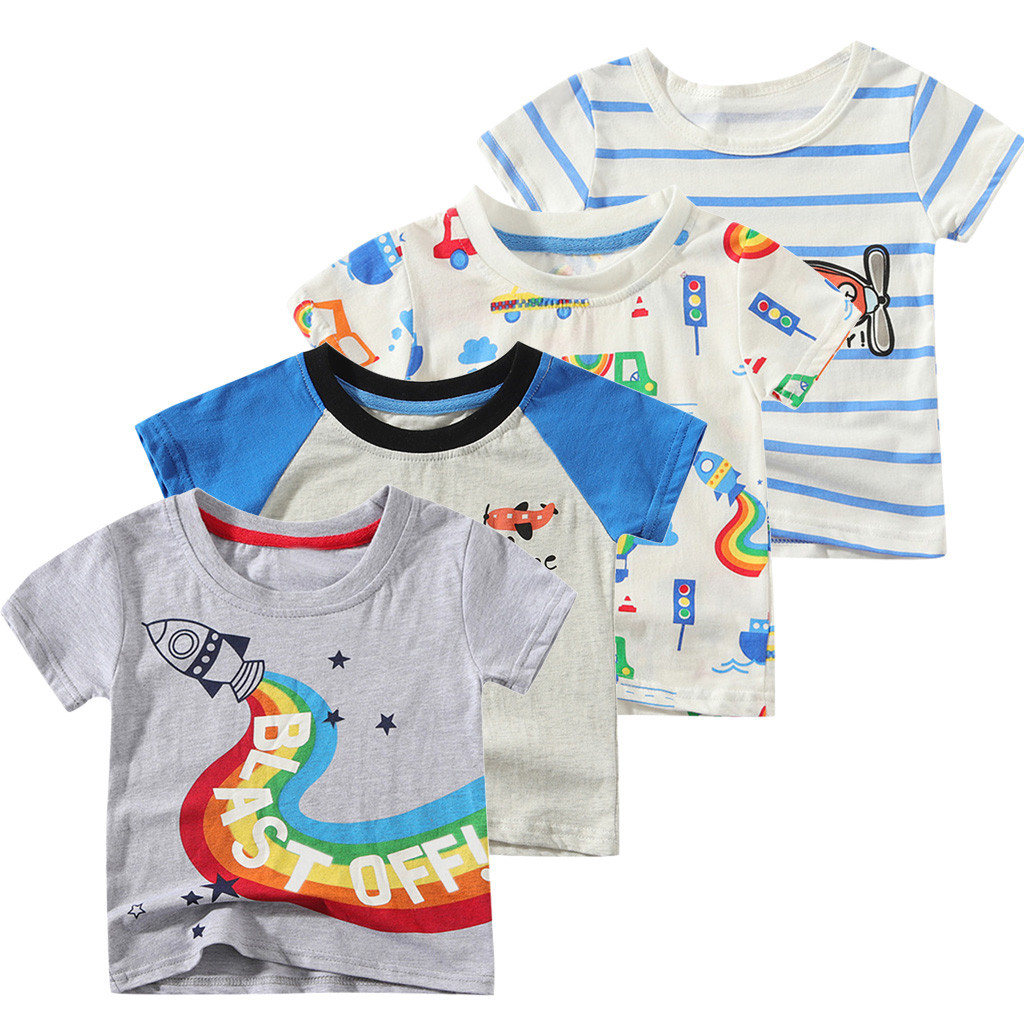 Baby Tshirt Tops Short-Sleeve Toddler Fashion Printed Cartoon Kid Camiseta Boy Tees Modis title=
