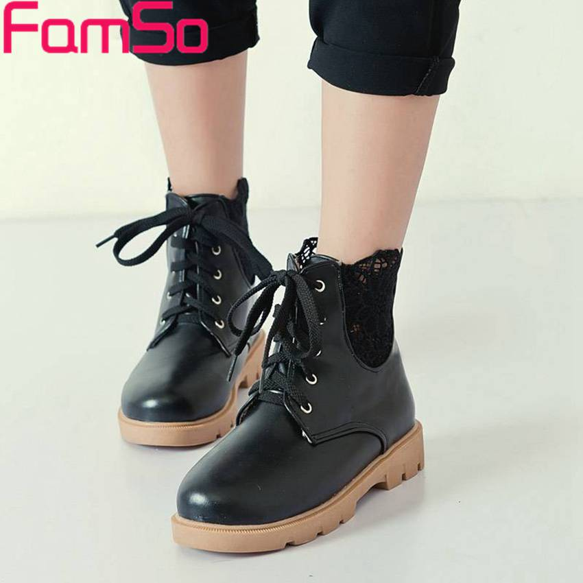 Plus Size34 43 2016 New Fashion font b Women s b font martin Boots Solid Flats