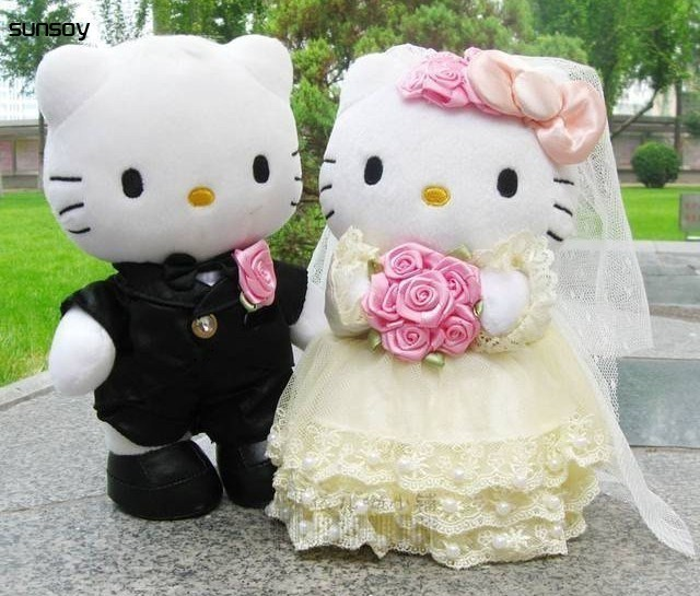 1 Pair Hello Kitty Toys Wedding Couple gifts Hello Kitty Cat Stuffed Plush  Toys Soft Doll 6c5a1124b5