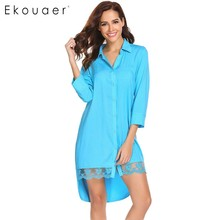 Ekouaer女性カジュアルパジャマ3/4スリーブセクシーなトップレースネグリジェトリム高低ボタンダウン睡眠シャツドレス女性ナイトウェア