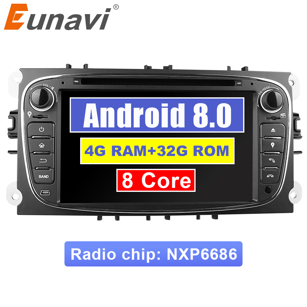 Eunavi 2 Din 7 Android 8.0 Octa Core Car DVD Player DAB+ WiFi 4G Canbus Online Map GPS Navigator for Ford Focus II Mondeo S Max