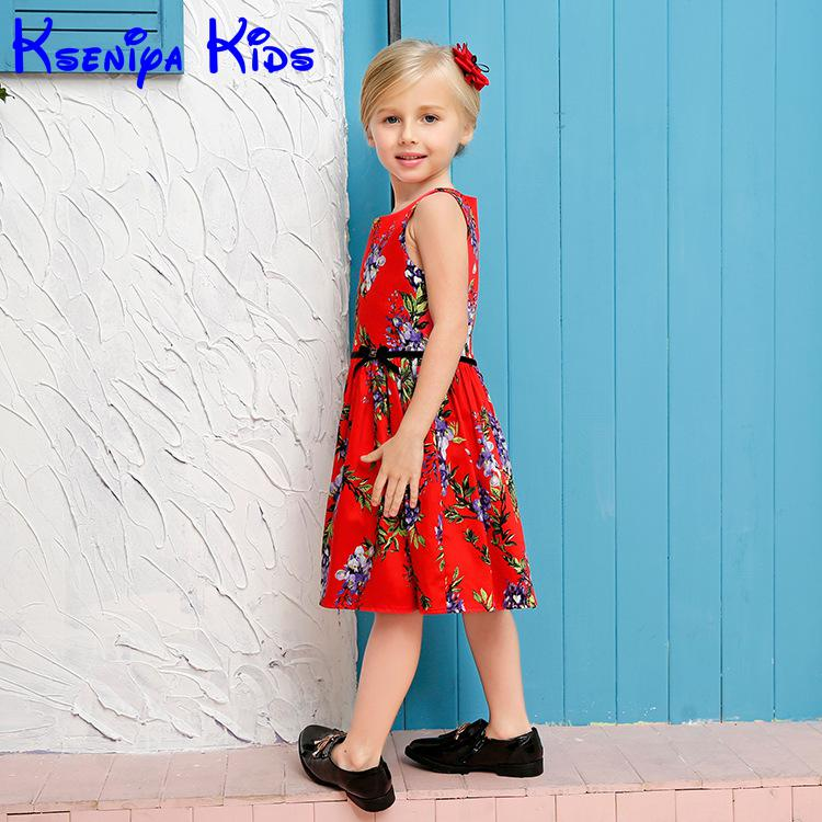 2017 New Style Brand Summer Kids Girls Cotton Beach Dresses Children Baby Girl Holiday Red Dress Soft Material Clothes For Girls