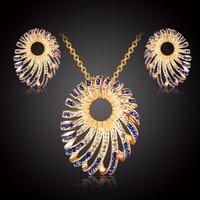 Austrian Crystal Fine Jewelry Sets For Women Party Fashion 18k Gold CZ Diamond Charm Pendant Necklace