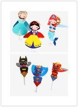 54 adet süper kahraman/prenses şeker kağıdı lolipop dekorasyon kart çocuklar doğum günü partisi DIY şeker hediye kaynağı
