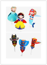 54Pcs Superhero/Princess Candy Paper Lollipop Decoration Card Kids Birthday Party DIY Candy Gift Supply