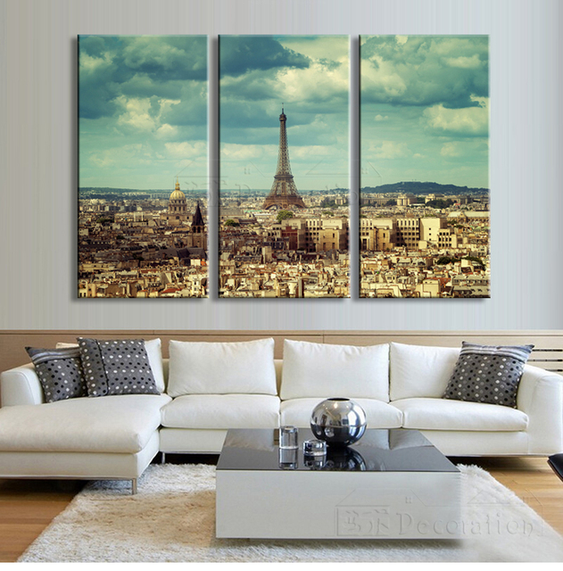 Paris decor 3 multi panel canvas wall art painting posters and ...