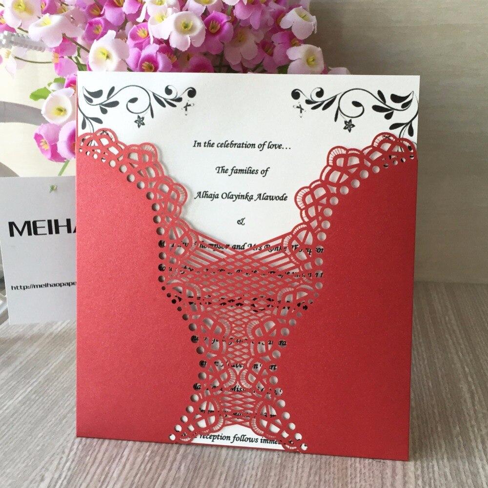 50Pcs/lot Laser Cut Wedding Invitation Card For Decoration Flower ...