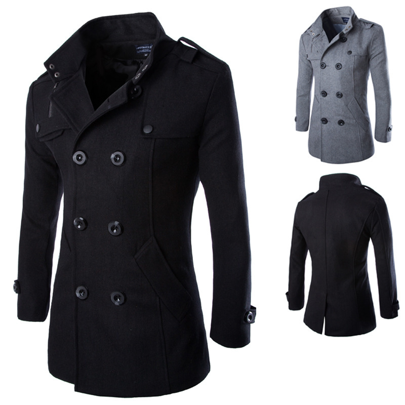New fashion font b men b font woolen font b coat b font casual double breasted