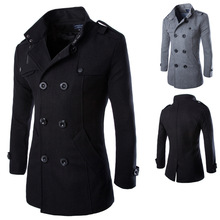 New fashion men woolen coat casual double-breasted men jackets outwear winter overcoat Black Gray Size M-3XL BY014