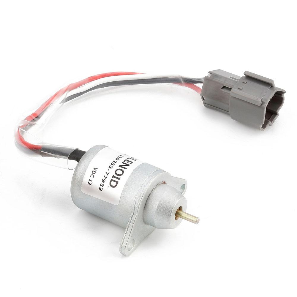 12V Fuel Shutdown Shut Off Solenold 119233 77932 for YANMA for R55 5 R60 5 Excavator Fuel Shutdown Shut Off Solenold
