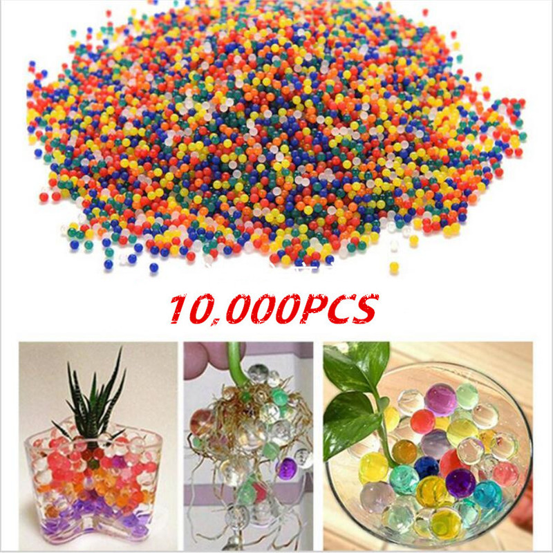 10000PCS/Bag Soft Crystal Paintball Bullets Long Water Beads Growth Balls Children Toy Gun Airsoft Pistol Paintball Parts