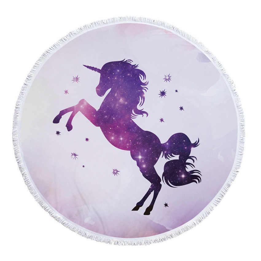 Единорог летний круглое пляжное Полотенца s с Кулиской Сумка для хранения толстая одежда для собак круг для йоги коврик Bikini Cover Toalla PLAYA