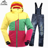 SAENSHING Brand Ski Suit Women Waterproof Ski Jacket Snowboard Pant Thermal Breathable Outdoor Ski Snowboarding Suits Girls Sets
