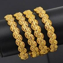 Anniyo 4 Stück/Öffnende Dubai Gold Farbe Frauen Armreifen Äthiopischen Armbänder & Armreifen Afrikanischen Schmuck Arabisch Nahen Osten #211506
