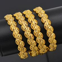 Anniyo 4 Stuks/Te Openen Dubai Goud Kleur Vrouwen Bangles Ethiopische Armbanden En Armbanden Afrikaanse Sieraden Arabische Midden oosten #211506