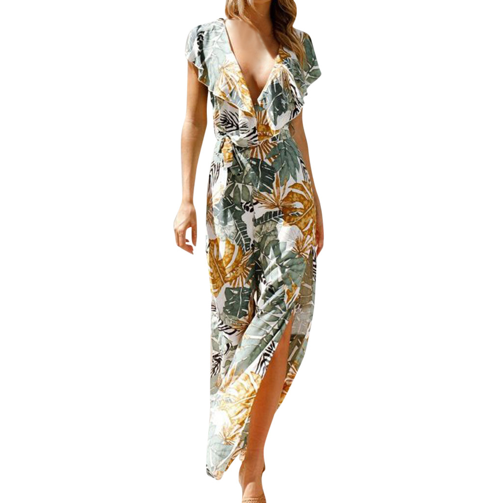 feitong Womens  Long Playsuit Ladies Jumpsuit  V-Neck Floral Print Sleeveless Women Jumpsuit Summer Casual  #w35