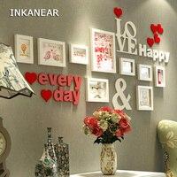 Masif Ahşap Boyama Ev Dekor Oturma Odası için Aşk Kalp Düğün Moda Galeri Resim Fotoğraf Çerçevesi Set Duvar Dekorasyon