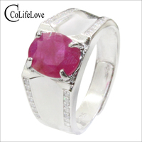 CoLife Jewelry 925 Silver Ruby Ring for Man 7*9mm Natural Ruby Man Ring Sterling Silver Ruby Jewelry for Man Fashion Man Jewelry