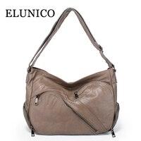 ELUNICO Spring Leisure Women Messenger Bags Female Cowhide Genuine Leather Tote Bag Ladies Real Leather Crossbody Bag Sac A Main
