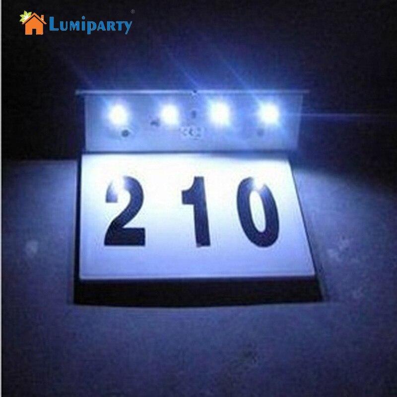Lumiparty 4 lumini solare din oțel inoxidabil cu LED-uri, lampă de panou led, cu lumină, cu număr de casă, siliciu amorf