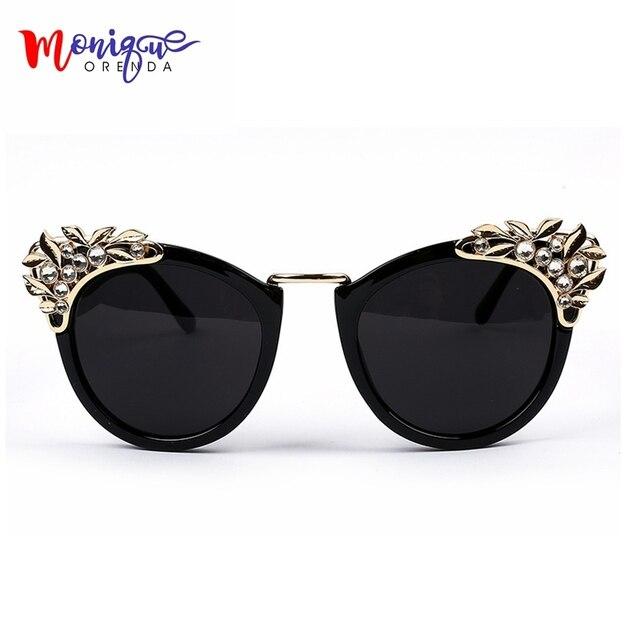 aa1ec0cb45b Nouveau 2016 femmes marque de luxe lunettes de soleil bijoux fleur strass  décoration lunettes de soleil