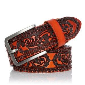 Image 4 - Cinturón clásico de cuero de vaca para hombre, cinturón masculino de alta calidad con hebilla de Pin, a la moda, para Vaqueros